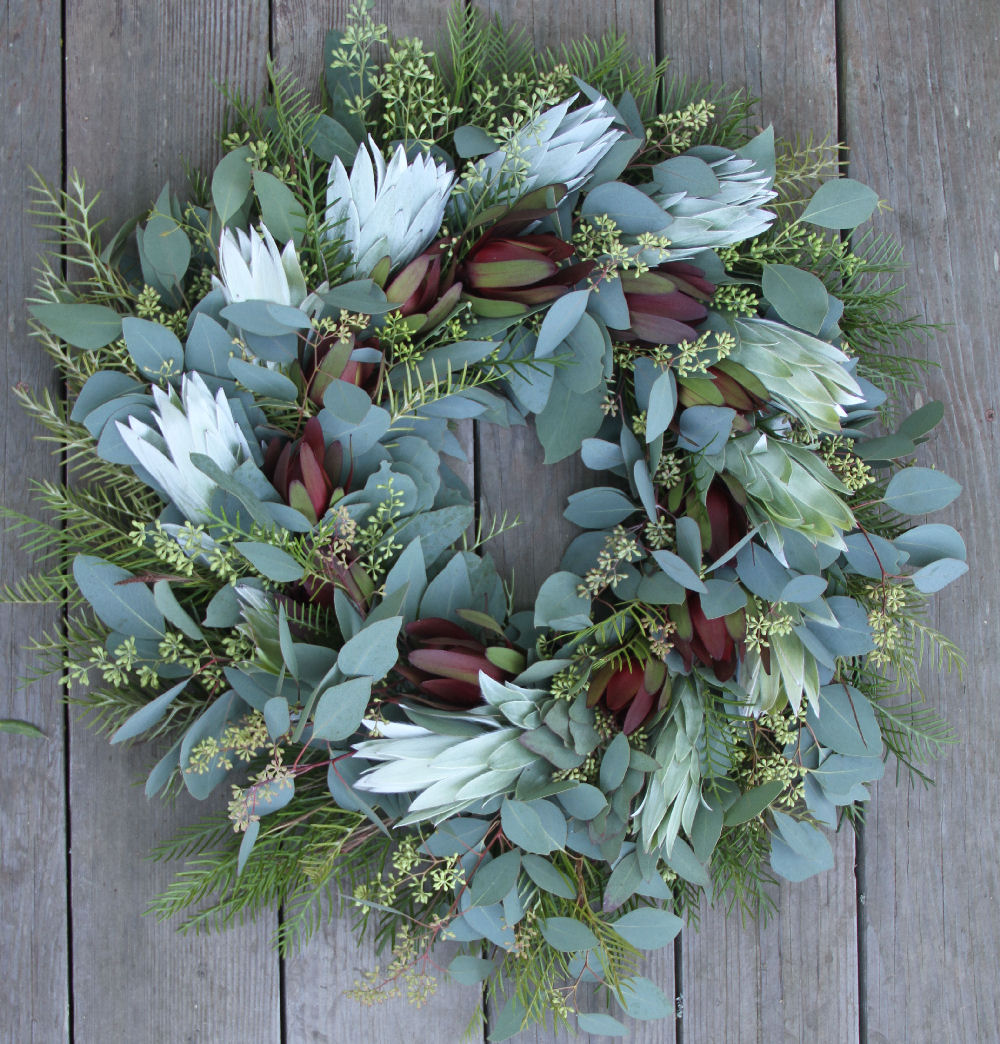 SILVER EUCALYPTUS GREVILLEA AND RED WREATH