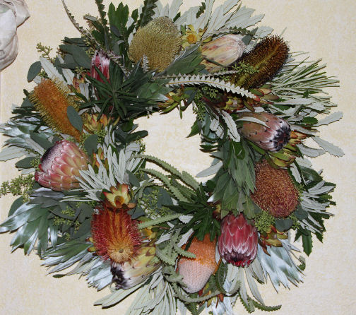 BANKSIA & PROTEA WREATH WITH SILVER TREE