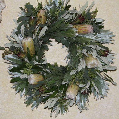 SILVER TREE & EUC WITH WHITE PROTEA WREATH